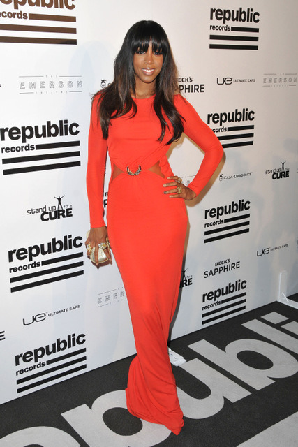 Hot! or Hmm…: Kelly Rowland's The Republic Records post GRAMMY party Roberto Cavalli Red Gown