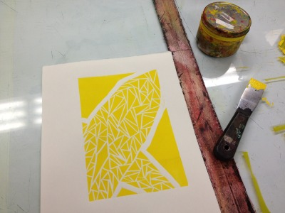 First color pass of a reductive linocut print.