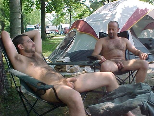 Nude men camping naked