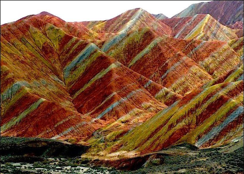 earth stripes on the Zhangye Danxia Landform in China