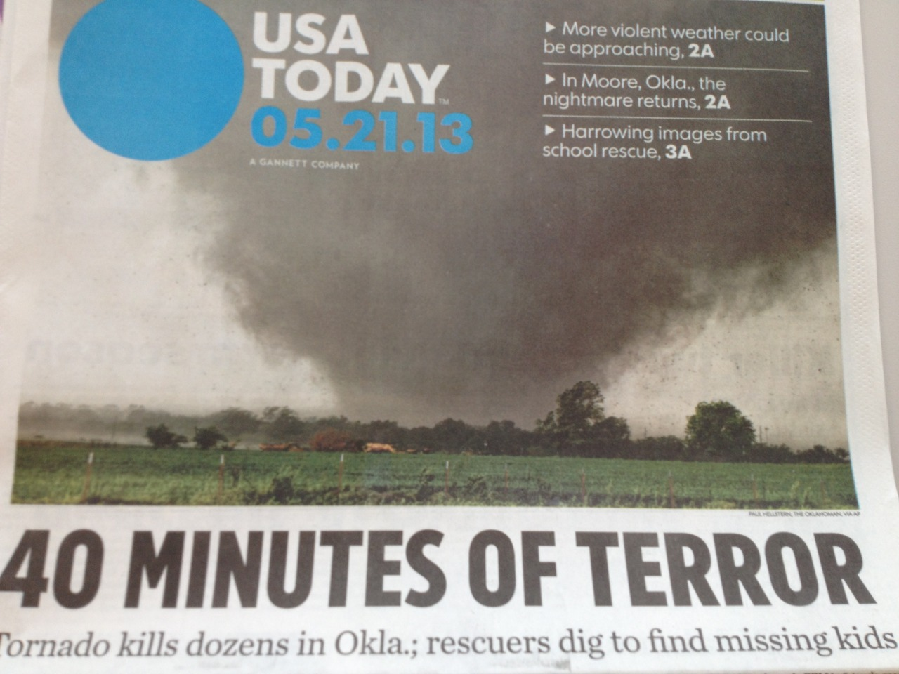 Front page of this morning's USA TODAY