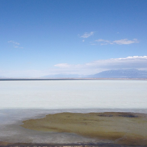 I think the ice is melting. #utah #roadtrip #betheart  (at Antelope Island State Park)