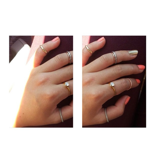peachnaked:  I seriously wish I had all these rings and this nail polish