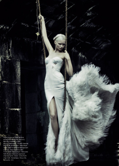"dormanta:  Abbey Lee Kershaw in ""Madone"" by Sebastian Kim for Numéro #126  I need a dress like this and a model to put it in…"