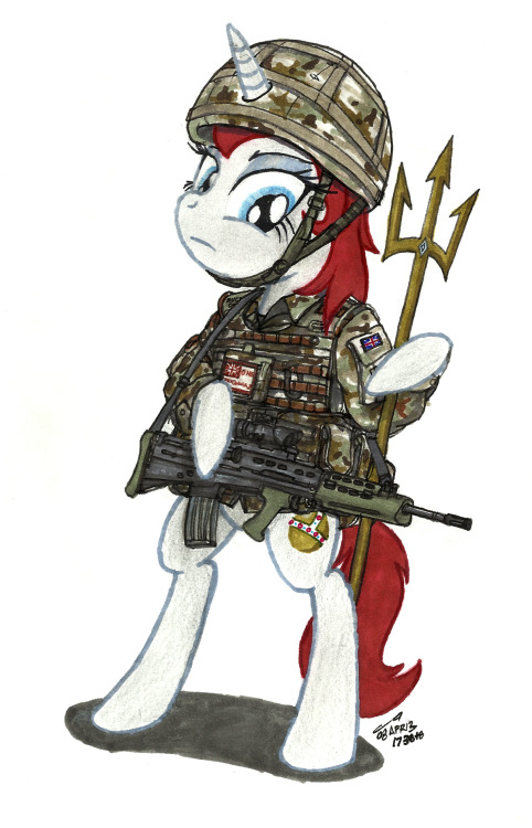askbritannia:  *Figured Britannia oughta have a spot on Her Majesty's Armed Forces of today.  Well, seeing as 'them upstairs' have been neglecting the fanart somewhat, of late I thought yours truly should fill the role…at least until everything goes back to how it should.  Such a shame the real Britannia couldn't get a look at this before duty called. Maybe we can bump it over to her when she gets back. I'm sure she'll be very impressed and not offer critique as to her stance on lethal weaponry or bipedalism in the slightest ;P I kid, though. In all honesty it's nice to see some of you hominids have an idea of what kind of pony we're dealing with here. Thank you to the appropriately named Mr. Buckminster.  At ease, troops- The Clarion Call