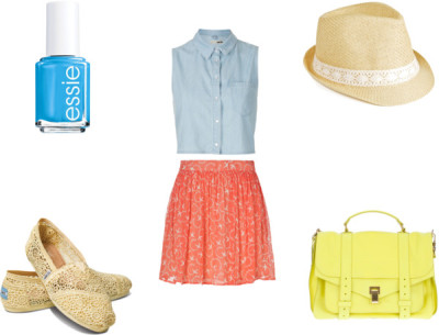 Spring Outfit by karolinam-928 featuring short mini skirtsTopshop  / Paul & Joe Sister short mini skirt / TOMS  / Proenza Schouler  bag, $230,970 / Straw fedora hat / Essie  nail polish