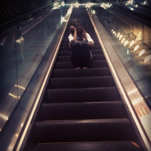 Gal who loves to sit on long escalators @vickneswari