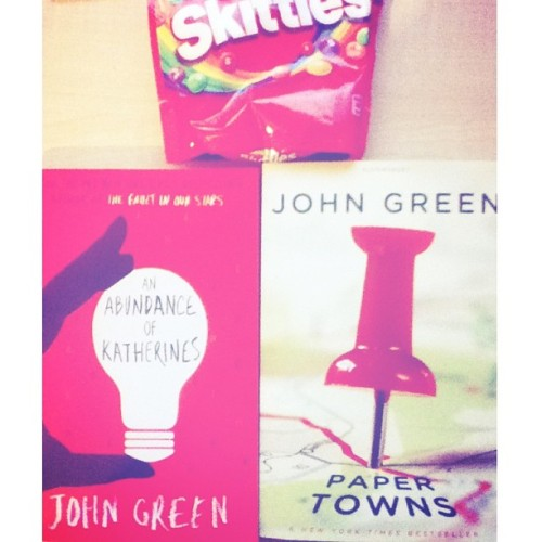 First time I actually buy a book from my favourite author John Green 😊 I shall now enjoy my spring break with these books and skittles .. and thank you @ejoyjoyeth @lala_loop @priscillayaw @shukri_oultandmoro and everyone else for making my day 478256686383 times better <3