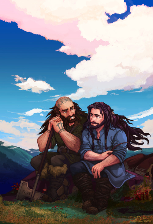 ramida-r:  My fav Middle-Earth shieldbros taking it easy in Ered Luin.The Hobbit by JRR TolkienThe Hobbit (2012 Movie) © Warner Brothers/New Line Cinema/MGM