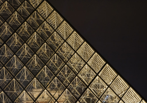 Detail of I.M Pei's glass pyramid at the Louvre.