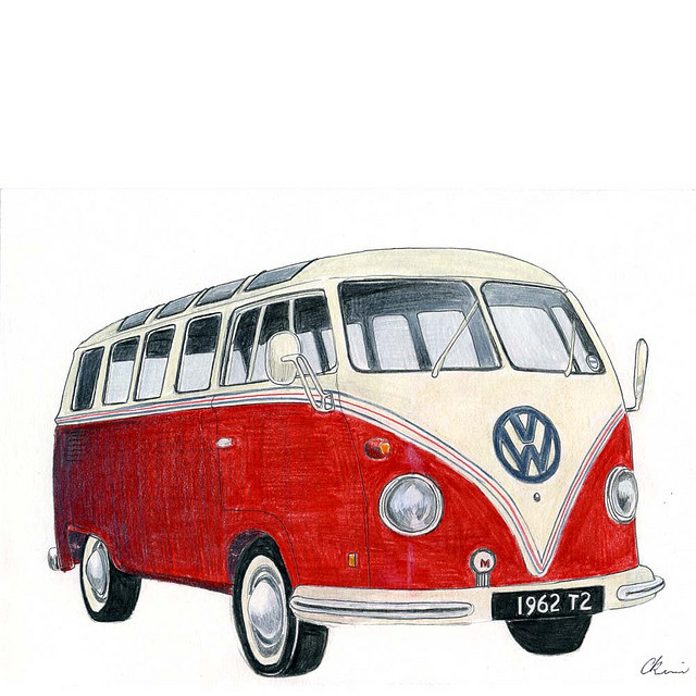 Volkswagen Camper - drawing by Christine Berrie Illustration on Flickr.