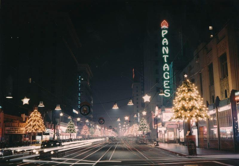 Christmas time on Hollywood Blvd - 1950