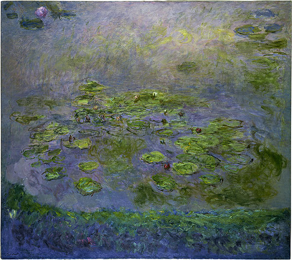 Nymphéas (Waterlilies) - Claude Monet, circa 1914/17. Impressionism - Oil paint on canvas, 181 x 201.6 cm. Permanent Collection of the National Gallery of Australia, Canberra.