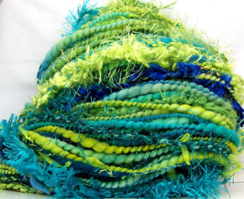 HandSpun Art Yarn merino wool bulky Electric Wave SPIN TO ORDER Kitty Grrlz FunctionArt Art Yarn