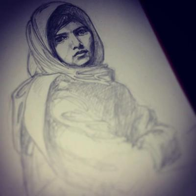 My interpretation of Malala Yousafzai - A 15 year old Pakistani girl shot for wanting an education.  I am doing a drawing a day for a year! follow me on facebook.com/juliaclarkeart or jooliahgooliah.tumblr.com :)