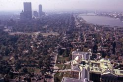 cityofbostonarchives:  Aerial View of Boston from 1 Beacon Street, October 1973, , Peter H. Dreyer slide collection, Collection #9800.007, City of Boston Archives.