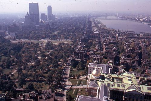 Aerial View of Boston from 1 Beacon Street, October 1973, , Peter H. Dreyer slide collection, Collection #9800.007, City of Boston Archives.  This work is free of known copyright restrictions.  Please attribute to City of Boston Archives and credit Peter Dreyer.. For more images from this collection, click here