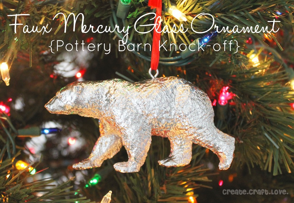 Faux Mercury Glass Ornament | Create Craft Love Every year I torture myself by looking at the Anthropologie Christmas ornaments and wishing I had a million dollars to spend on decorating my Christmas tree! Because seriously, some of those ornaments are about $20 a pop. Yikes. But as usual, the craft universe helps me out by sharing easy to make DIY versions. This sweet little mercury glass ornament is so easy to make but will look fantastic on your tree!