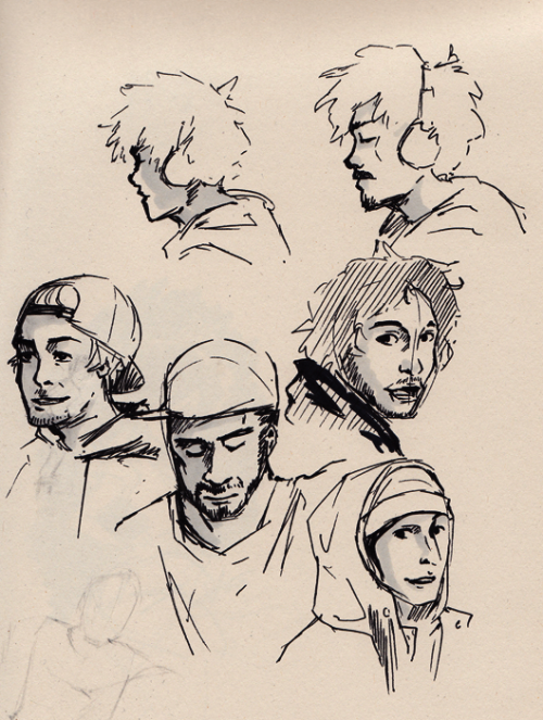 These where some super quick in-between face studies I did while watching skate videos. (I actually intended to do some action pose studies but meh) :v Straight out of my sketchbook~