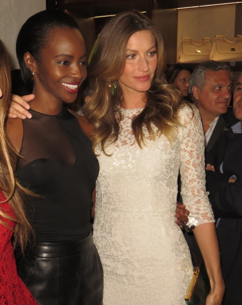 poplipps:  Gisele and Kiara at the #DGNY opening…