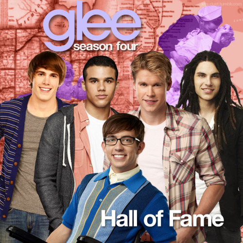 "A Glee album cover (with Season 4 souvenirs) for ""Hall of Fame"" by The Script featuring will.i.am, as sung by the cast of Glee featuring Kevin McHale, Chord Overstreet, Jacob Artist, Samuel Larsen, and Blake Jenner, from Episode 4x22 ""All or Nothing"" in my Map Backdrop Style."