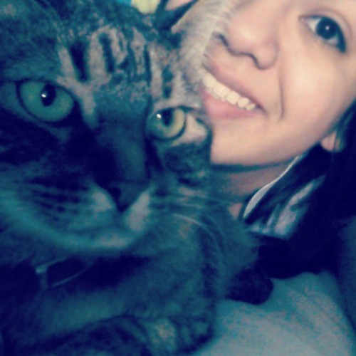 Hey kitty, I'm home c: #cat #smile #meandmycat #mycatandI #todaywasagoodday #happy