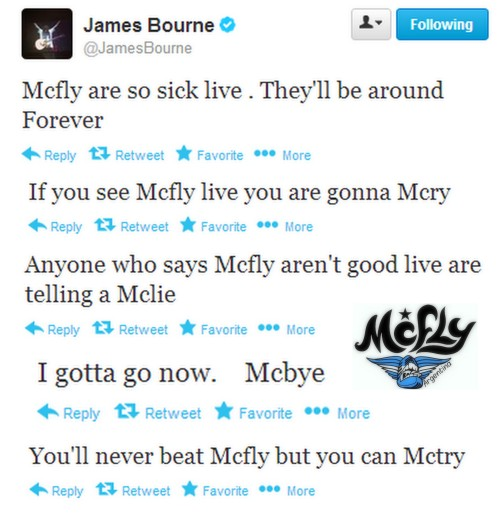 mcfly-argentina:  James Bourne tweeting about McFLY