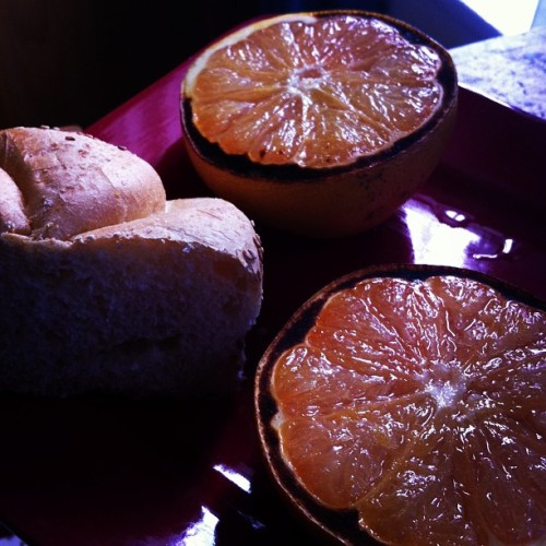 Broiled #grapefruit with a kaiser roll. Thaaaank you #Pinterest. #fruit #yum #delicious #delightful #goodmorning