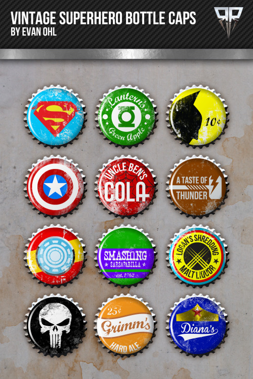 Classic Marvel/DC heroes designed onto vintage bottlecaps.