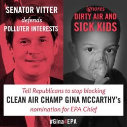 Senator Vitter of Louisiana is one of eight extremist Republicans who have decided to play politics with the health of our children and families. Demand that they give Gina McCarthy the swift confirmation vote she deserves: http://bit.ly/10miI5A