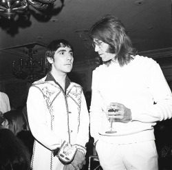 Keith Moon and Ray Manzarek. August 1974.  Rest in Peace.