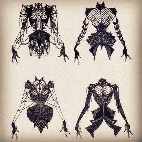 fashion design gothic fashion sketch corset