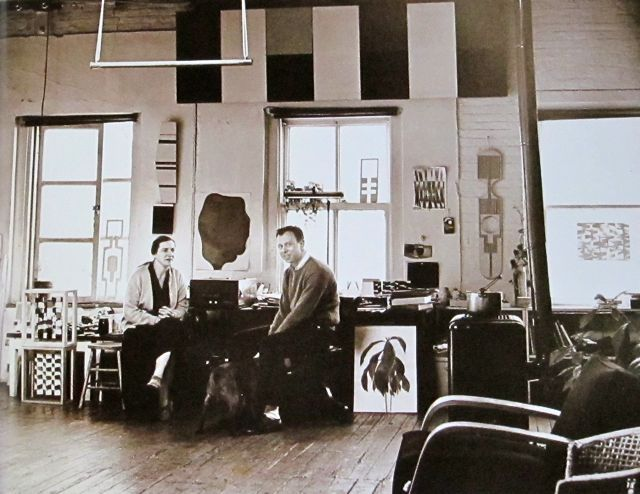 Ellsworth Kelly and Agnes Martin in Kelly's NYC studio, 1957.   Photo: Hans Namuth