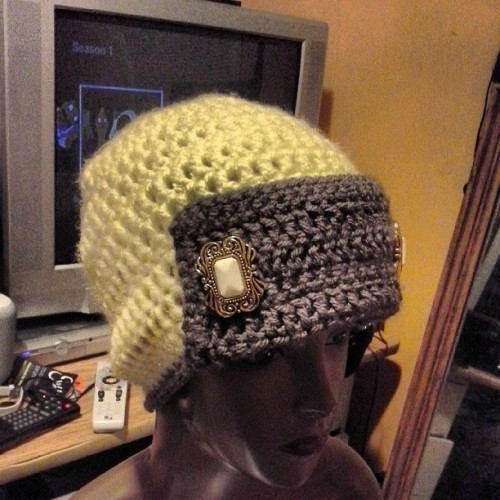 #justfinished yellow and brown #crochet button cap. $15 #style #fashion #forsale ps: no pics of me an the moms on mothers day cause I was too busy cooking for them. Lol