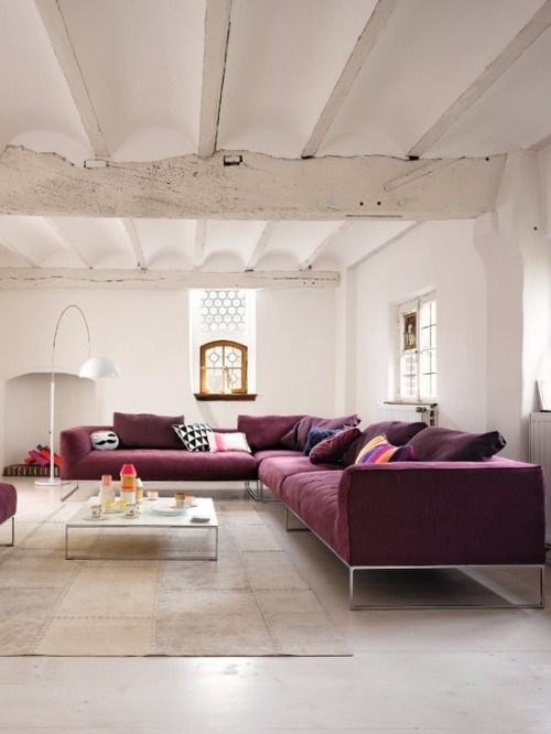 white + purple (via leeverlasting: Living Room Interior Design By Jehs+Laub)