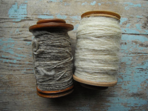 Wooden Spools of Spun Wool