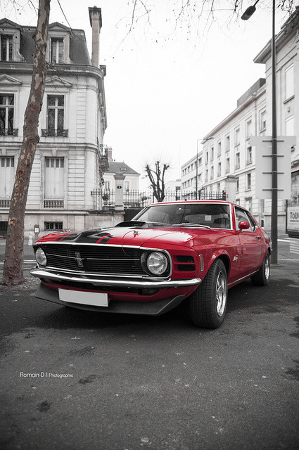 crazyforcars:  Looks like somewhere in Europe… a vintage Mustang in Europe would be super cool.