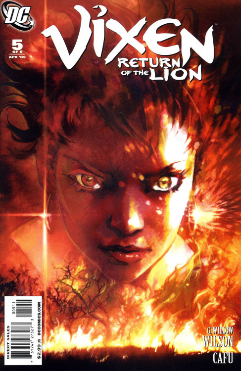 Vixen: Return Of The Lion #5,  April 2009, cover by Josh Middleton