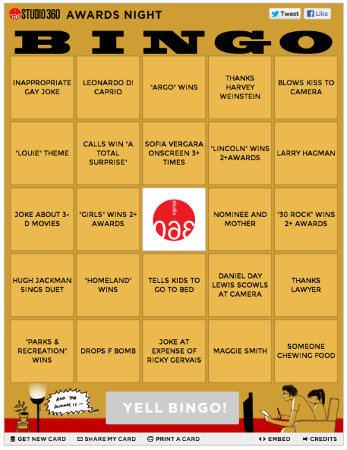 wnyc:  Watching the Golden Globes Sunday night? Play bingo with Studio 360!