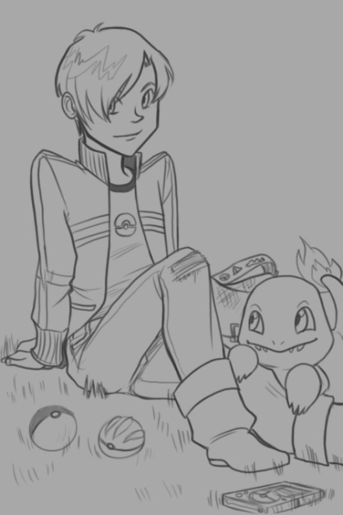 So this happened. Llyr, as a pokemon trainer because that's what the world is about. He'd have a Charmander as his starter and then a whole team of Eevees, bent on getting all of their eeveelutions. The end.