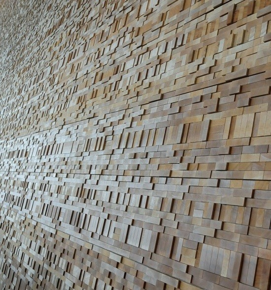 Sumptuous  Patterned wood block walls at the Vancouver Convention Center