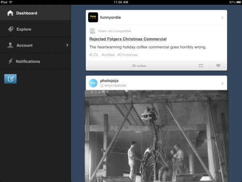 Looks like Tumblr's FINALLY handed over that long-awaited iPad App. I'm pretty impressed so far. They didn't include many bells or whistles, but I'm okay with that. Functionality is more important. So, all you iPad users head over to the App Store to test it out.   Good show, Tumblr.