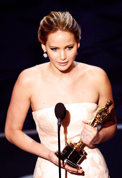 Jennifer Lawrence accepting the award for Best Actress in a Leading Role