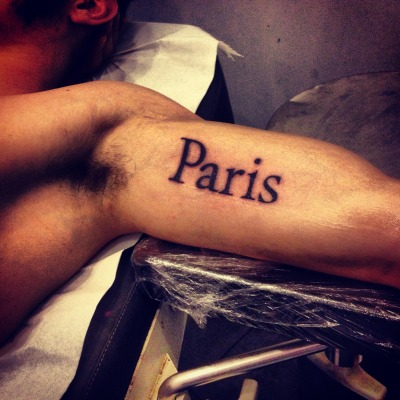 I'm from Paris and i love my city like crazy, Paris is a part of me. i did it in Paris, MAT tattoo