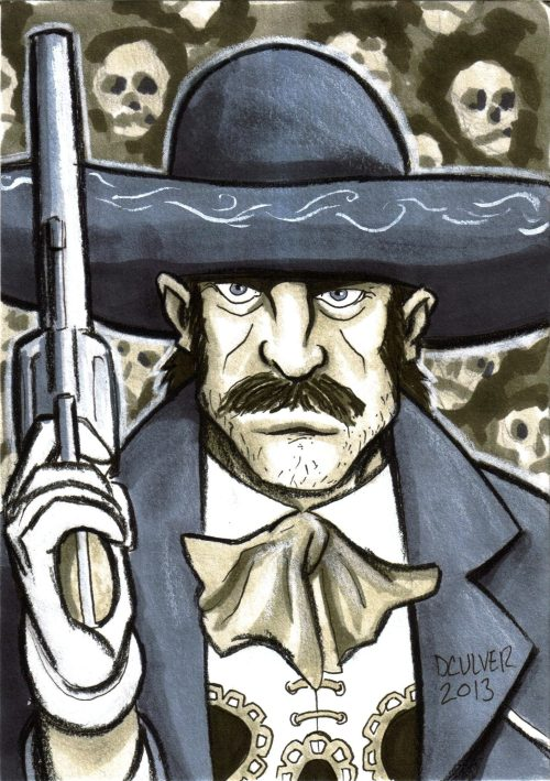 dennisculver:  Ramon took a better scan of his Mexican Punisher that I illustrated this weekend at Big Wow. 5x7 Copic warm and cool grey markers mostly.