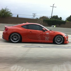 motormavens:  Taking #iphonephotos while driving on the freeway is dangerous and you shouldn't do it. But if you do, roll down the window so you don't catch reflections like I did. @m_tea's #hotlava #ScionFRS #FRS86 #86FEST #SocalFRS @86FEST on Aug 10/11 weekend! #speedandstance (at King Taco)