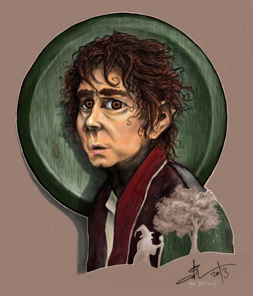 Bilbo Baggins, the reluctant hobbit. Available on society6.