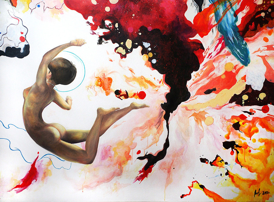 Spacegirl And The Verse | 60″ x 48″ acrylic and oil on canvas, 2012 You can learn all the math in the 'Verse, but you take a boat in the air that you don't love, she'll shake you off just as sure as the turning of the worlds.