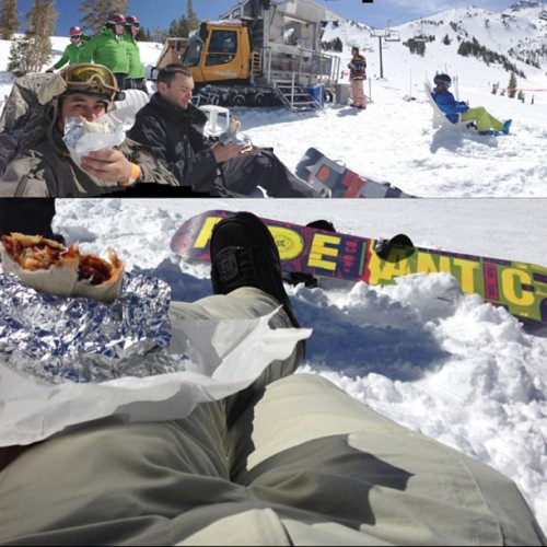 Mobile Burrito snow plow! Chilling out from snowboarding and having a BBQ Carne Asada Brisket Burrito!