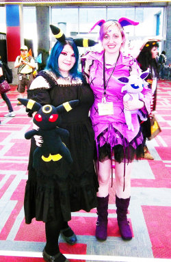 That's me on the left as Umbreon from Pokemon.  The non-plussy on the right is my buddy, Kari, who doesn't have a tumblr :)